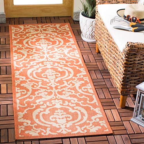 Safavieh Courtyard Collection CY2663-3202 Terracotta and Natural Indoor/Outdoor Area Runner Rug, 2-Feet 4-Inch by 9-Feet 11-Inch
