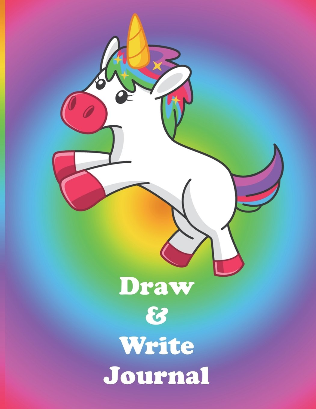Draw and write journal rainbow unicorn cover creative writing drawing journal for kids half page blank drawing space with lined paper notebook 8 5