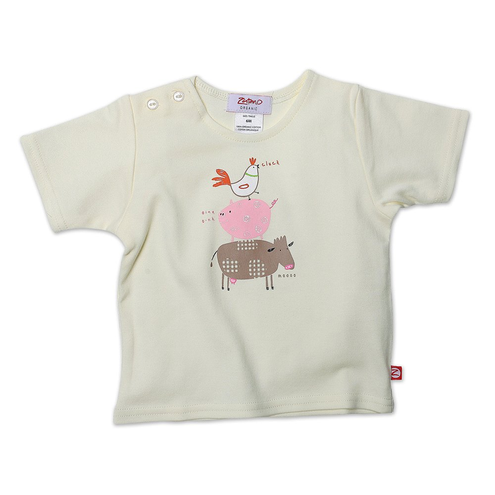 Zutano Baby Girls Farm Animals Organic Short Sleeve Screen Tee
