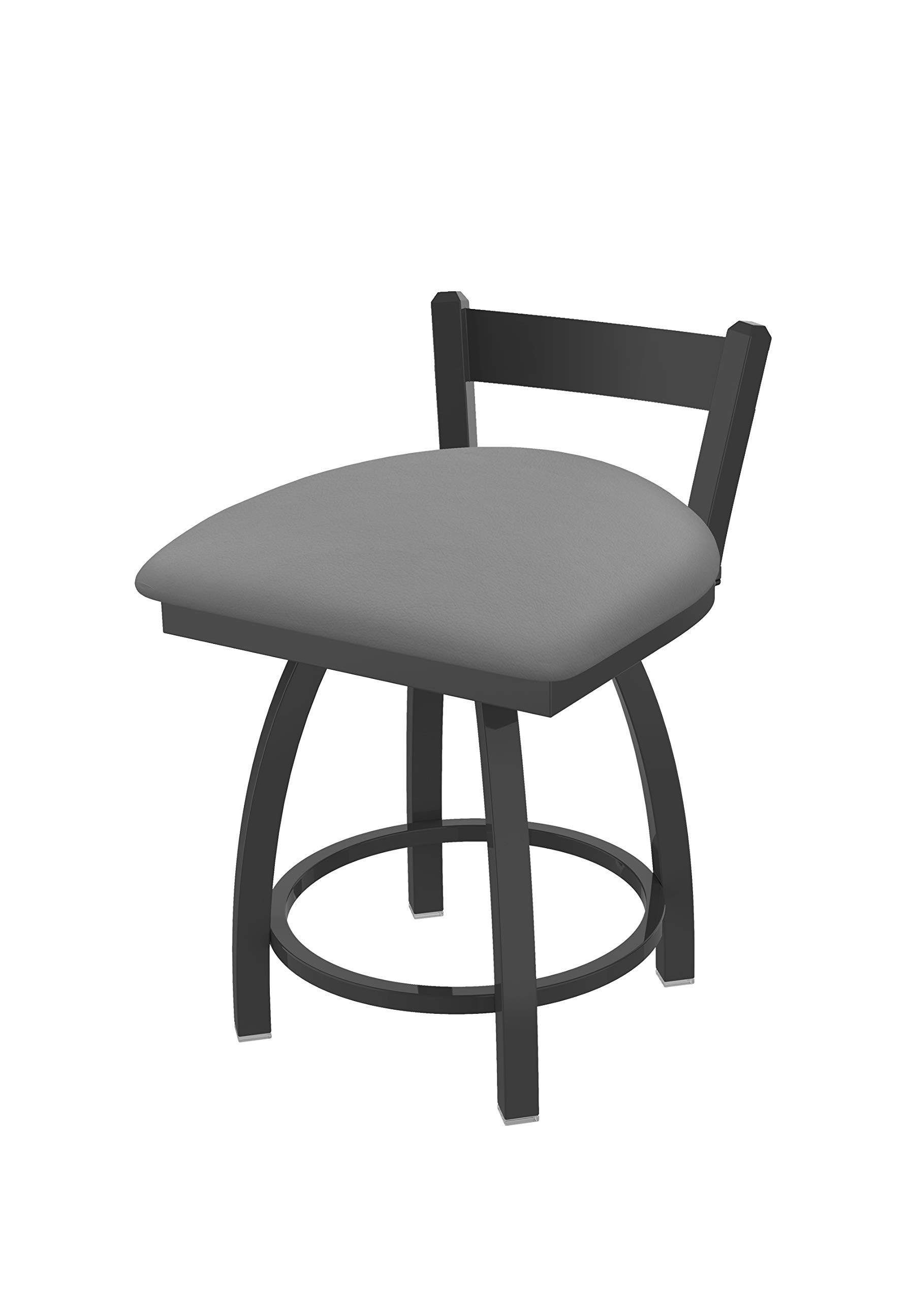 Holland Bar Stool Co. 82118PW007 821 Catalina 18'' Low Back Swivel Vanity Pewter Finish and Canter Folkstone Grey Seat Bar Stool
