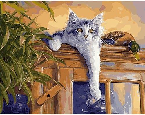 KUFNWH Escalada Gato Y Pato Digital Pintura De Aceite DIY ...