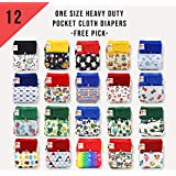 DAYCARE DIAPER! 12 KaWaii Baby One Size Heavy Duty HD3 Pocket Cloth Diapers + 24 Inserts