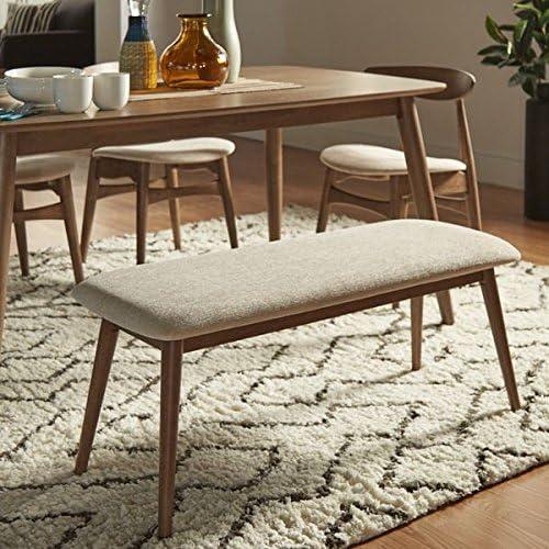 MID-CENTURY LIVING Norwegian Danish Modern Tapered Upholstered Bench Chestnut