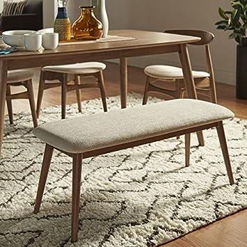 MID CENTURY LIVING Norwegian Danish Modern Tapered Upholstered Bench  (Chestnut)