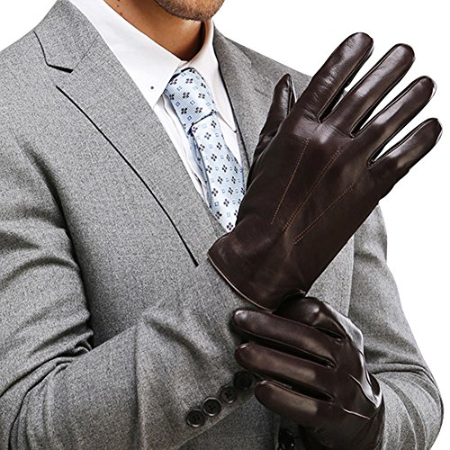 Harrms Best Touchscreen Nappa Genuine Leather Gloves for men's Texting Driving (XL-9.4