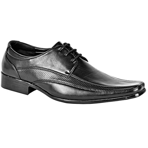 a6e0190319fc MyShoeStore Mens Formal Shoes Faux Leather Smart Dress Wedding Black Tan  Office Business Work Evening Party Casual Italian Slip On Moccasins Twin  Gusset ...