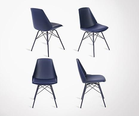 Sedie Blu Elettrico : Meubles design set sedie piedi metallo seduta imbottita anji