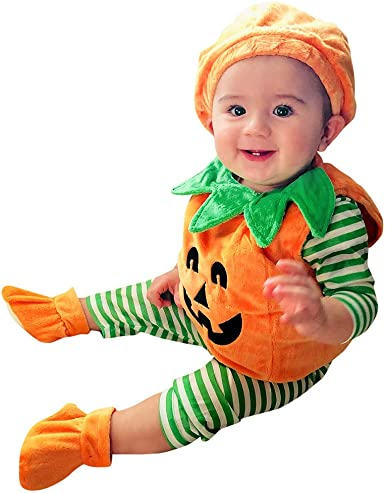 Baby Boy Coverall Halloween 2019 Pumpkin Face Toddler Jumpsuit