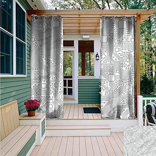 Beihai1Sun Outdoor Blackout Curtain,Modern Futuristic Computer Theme,for Porch&Beach&Patio,W108x72L