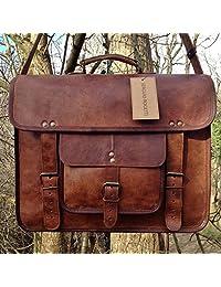 """RK 16"""" Vintage Leather Briefcase Messenger Satchel Leather Laptop Bag"""