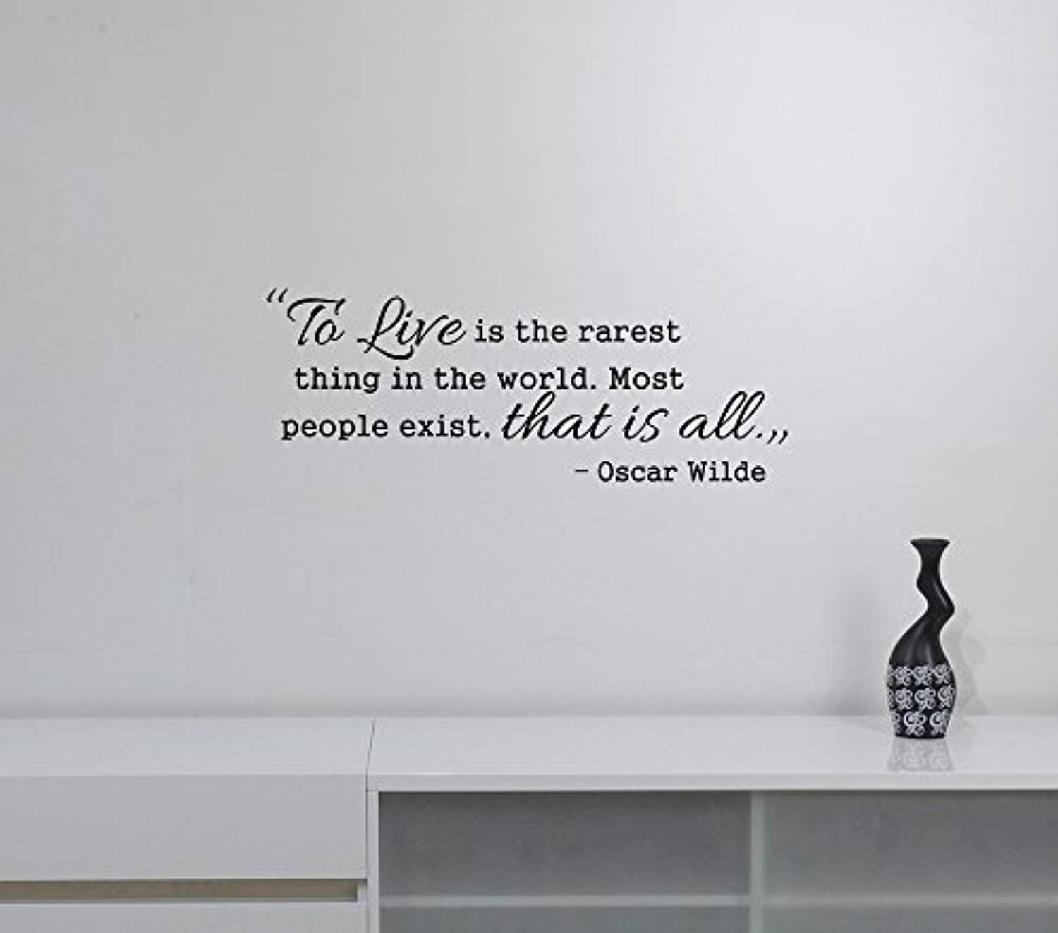 to Live is The Rarest Thing in The World Oscar Wilde Quote Decal Vinyl Lettering Motivational Saying Sticker Literature Wall Art Decorations for Home Bedroom Room Literary Inspirational Decor wq3