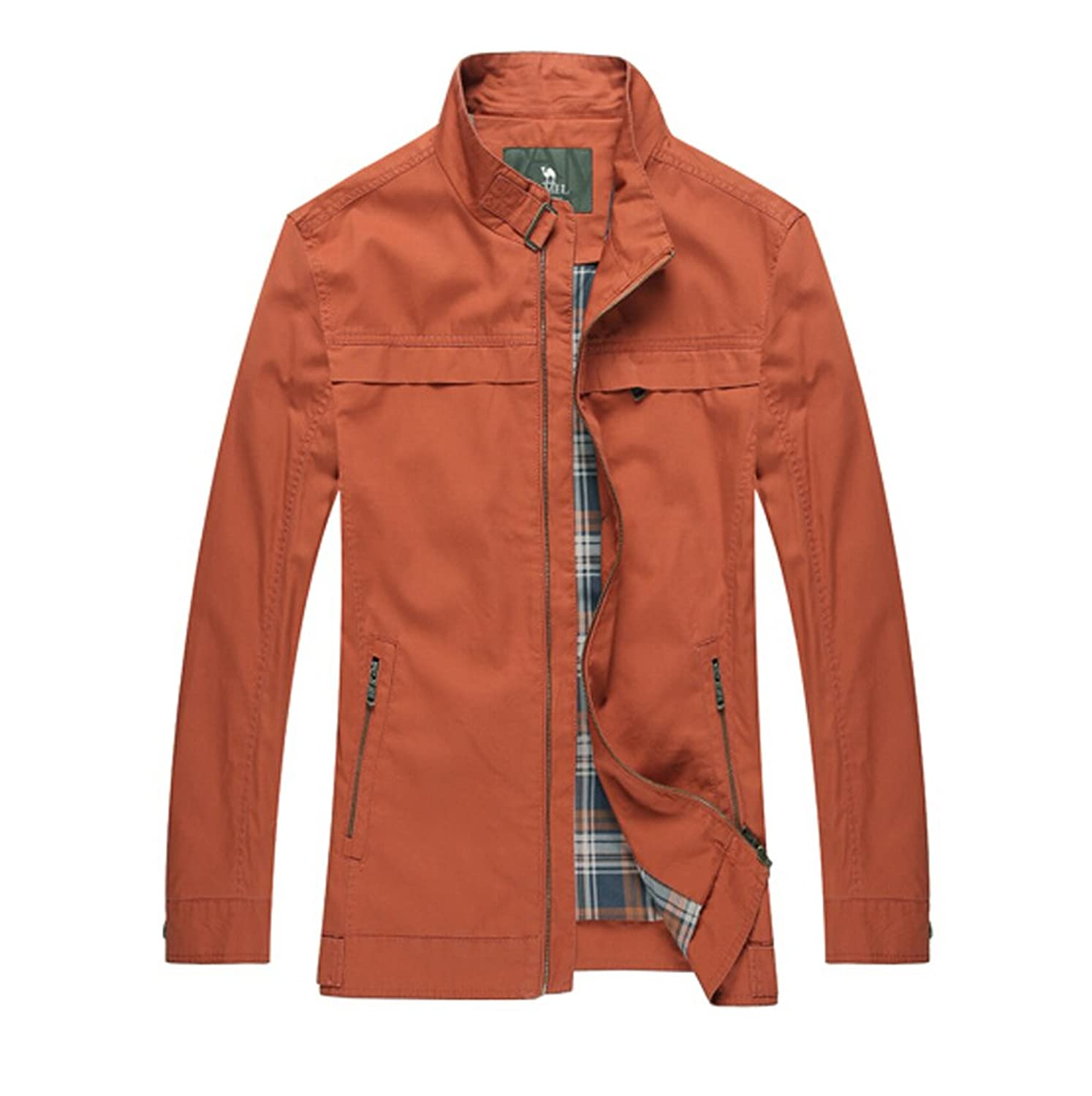 Camel Men's Fashion Casual Stand Collar Cotton Jacket Lightweight Zipper Coat