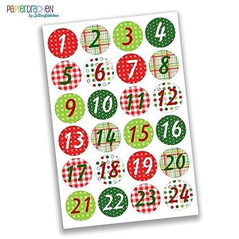 Creare Calendario Avvento.Papierdrachen 24 Adesivi Con Numeri Per Il Calendario Dell Avvento Classico Con Motivi N 5 Adesivi Per Creare E Decorare