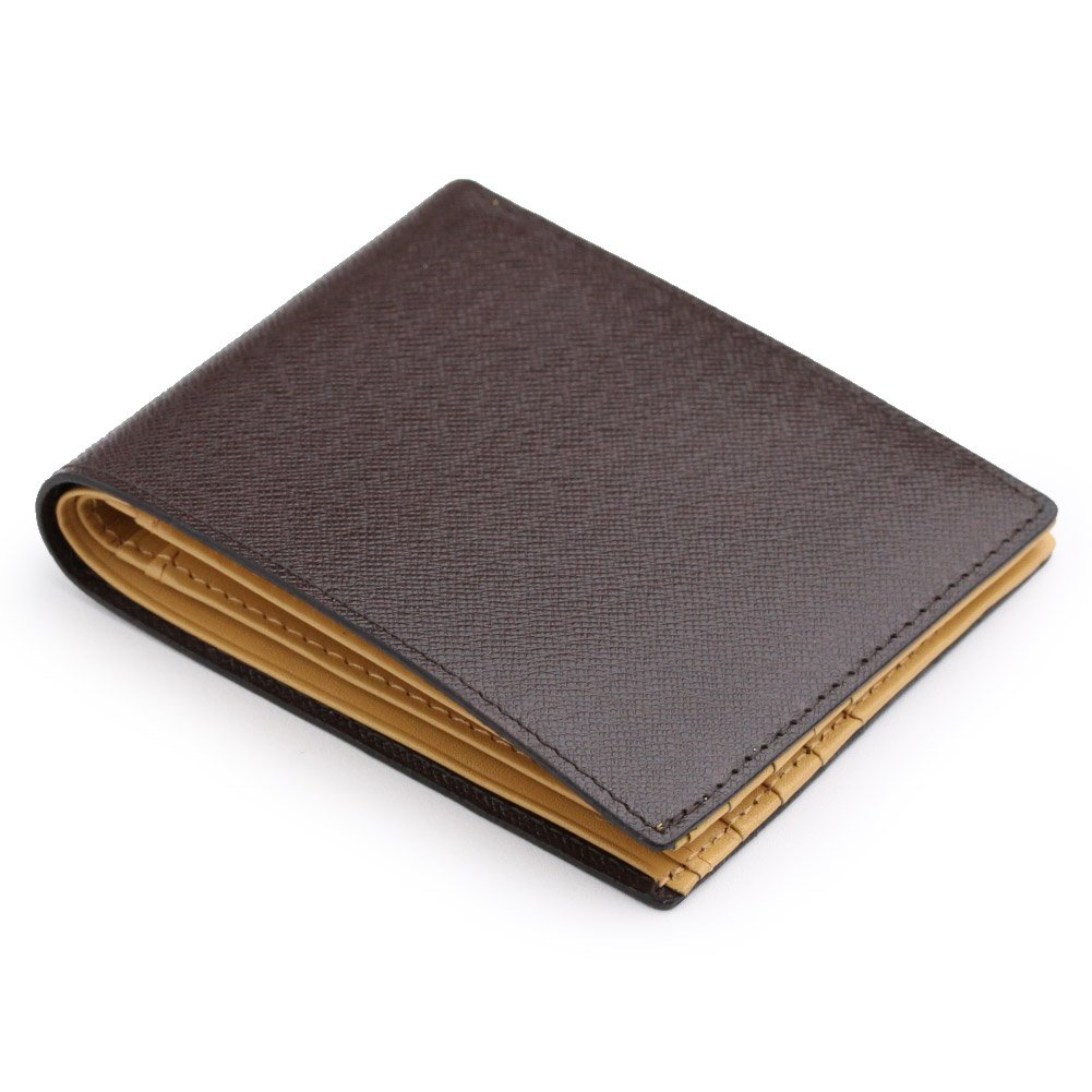 (アビエス)ABIES L.P. 本革 角シボ型押し牛革 二つ折り財布 (小銭入れなし) B004847L88 チョコ チョコ