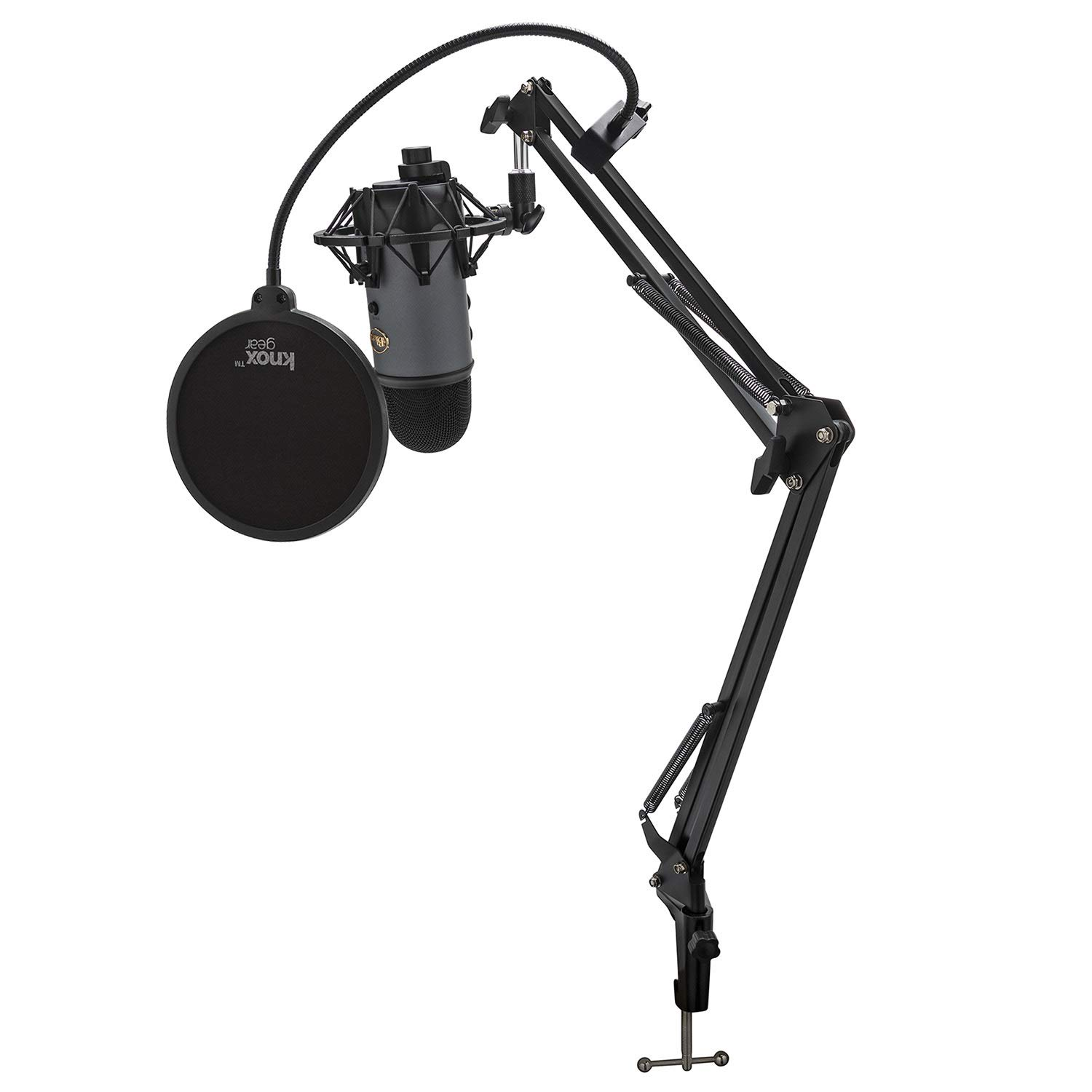 BLUE Microphone Yeti USB Microphone (Slate) with Knox Shock Mount, Studio Stand and Pop Filter by BLUE