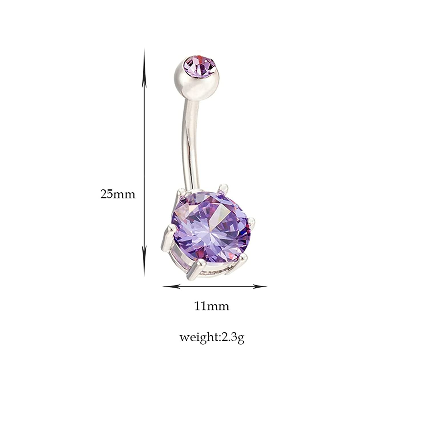 Beydodo Belly Button Ring Non Dangle Piercing Jewelry Stainless Steel Round Cubic Zirconia