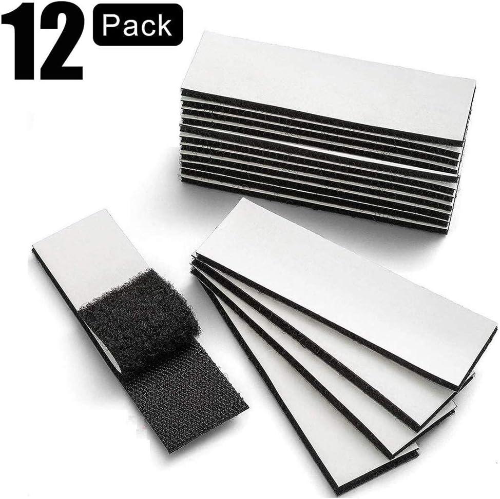 12pcs 3x10cm unidades de cinta de belcro industrial, autoadhesiva, extra fuerte, pegar en lugar de taladrar, fuerte cierre de belcro, adhesivo de doble cara, inofensivo para paredes y suelos