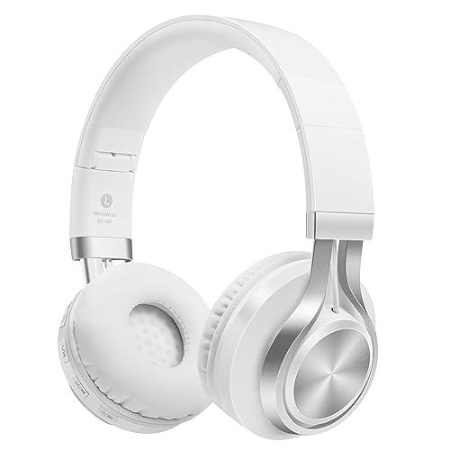 ヘッドホン Sound Intone 密閉型ワイヤレス Bluetooth 4.0ヘッドフォン 折りたたみ 3.5mmオーディオ有線ヘッドセット ブルーツース対応 ステレオ ノイズキャンセリング インラインマイク付き ボリュームコントロール スマートホン/PC/TV/IPHONE/SAMSUNG/LAPTOP (White)