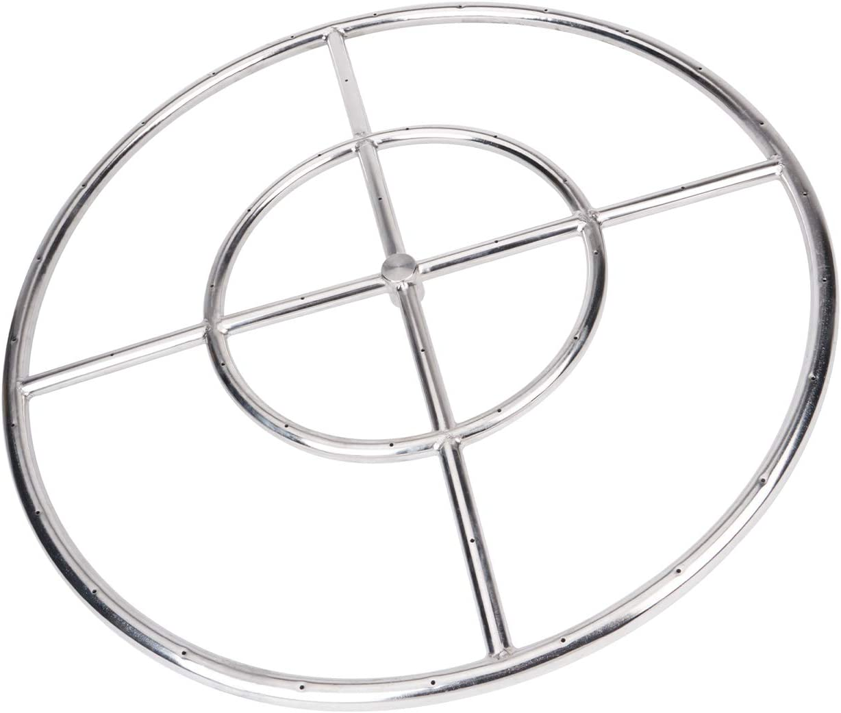 GASPRO 24 Inch Round Fire Pit Burner Ring for Natural Gas or Propane, 304 Series Stainless Steel with Thread Seal Tape, BTU 296,000 Max