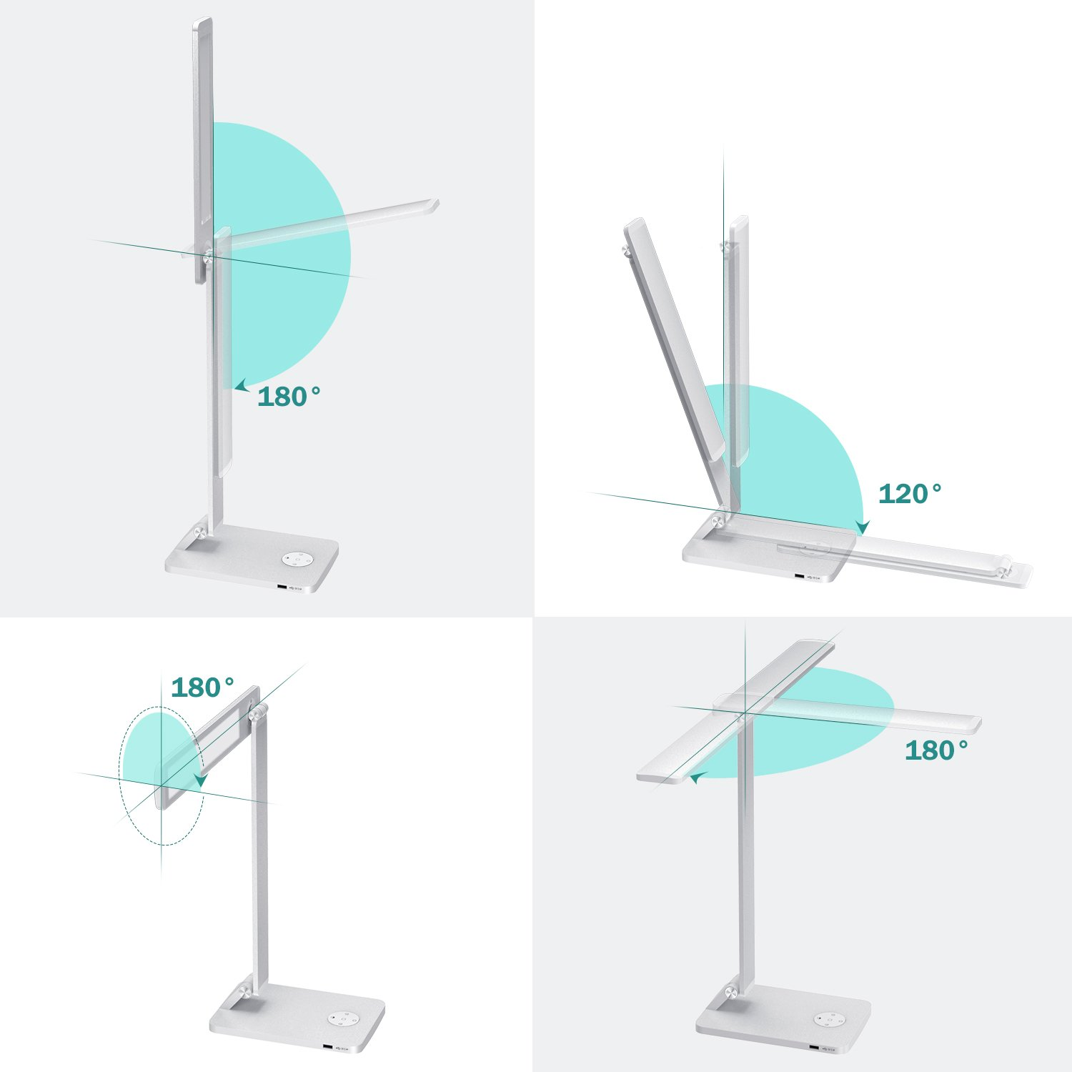 Sleep Mode Moko Smart Touch Stylish Metal Table Lamp Space Gray Rotatable Home Office Lamp With Stepless Brightness Color Temperature 5v 2 4a Usb Charging Port Memory Function Led Desk Lamp Desk Lamps