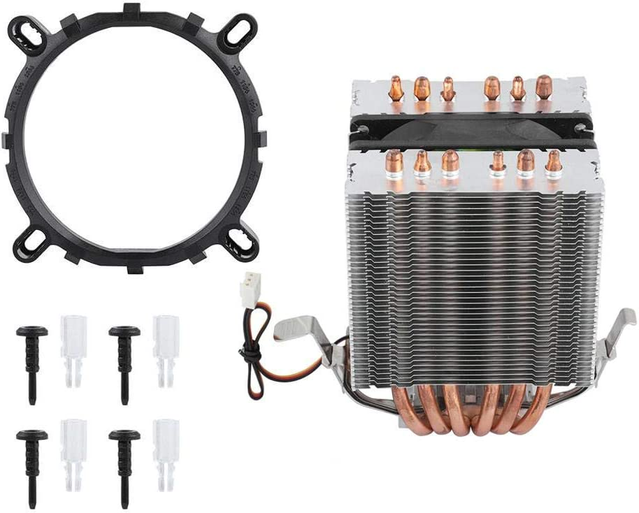 Yoidesu CPU Cooler,90mm DC12V 3Pin 48CFM 2200RPM CPU Fan with 6 Direct Contact Heat Pipes,Super Quiet Fan,Universal Socket Solution