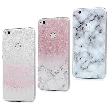 3x Funda Huawei P8 Lite 2017, Carcasa Silicona Antideslizante Ultra Delgado Case Cover Suave Flexible Gel TPU Protectora Pintada para Huawei P8 Lite ...