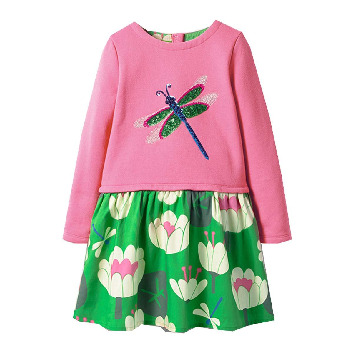 VIKITA Toddler Girl Long Sleeve Dragonfly Pink Dress Baby Girls Winter Birthday Dresses Great Gift (6T, MS0361)