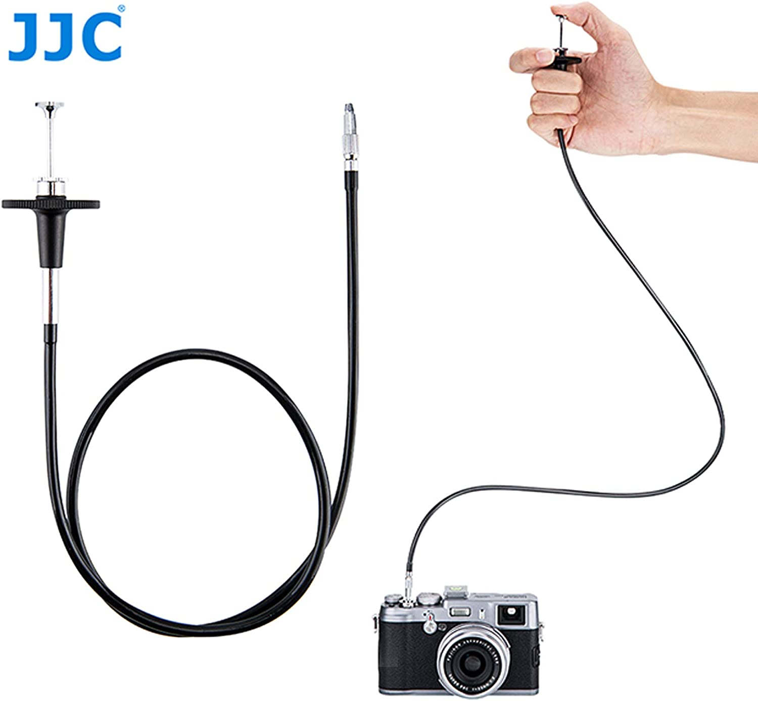 Mechanical Shutter Release Cable JJC TCR-40S Silver 40cm Threaded Cable Release Bulb-Lock Design for Long exposures