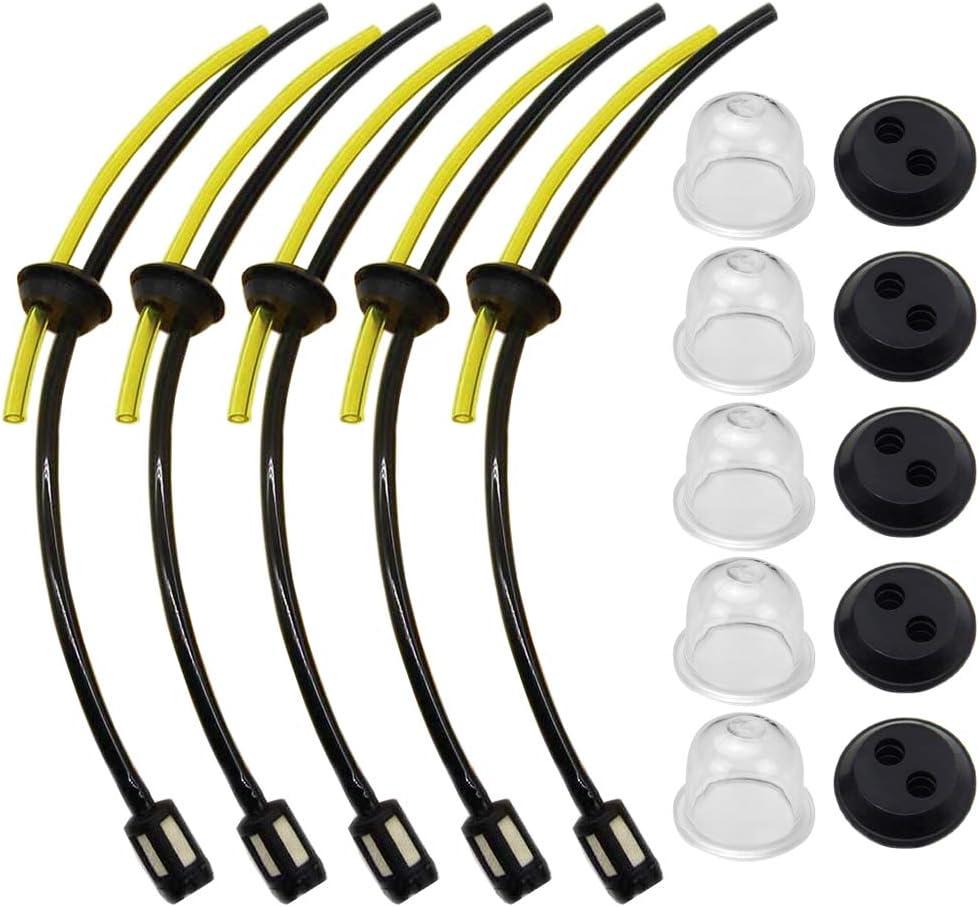 Zemoner 5 x Universal Kit de filtros de gasolina Tubo Sello para Motor Sense cepillo cortador cortacésped cortador