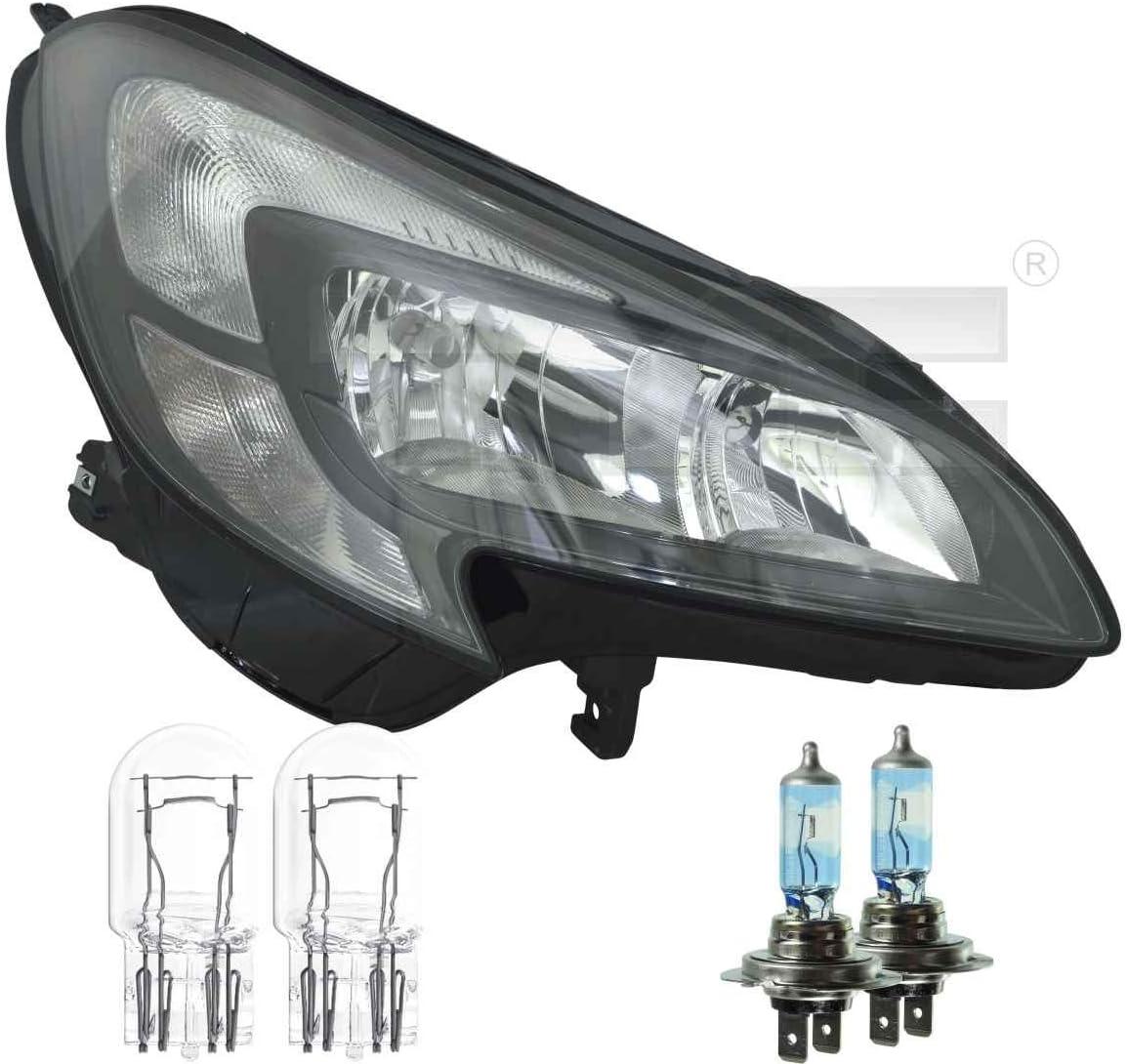 Scheinwerfer rechts Schwarze Blende H7//H7 f/ür Corsa E inkl Osram Lampen