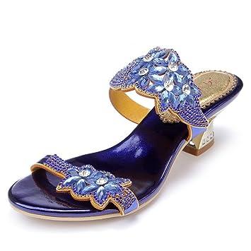 HIGHXE Verano Grueso con Sandalias de Diamantes de imitación Zapatos de Mujer Zapatillas de tacón Alto Sandalias de Alto Grado de Gran tamaño, ...