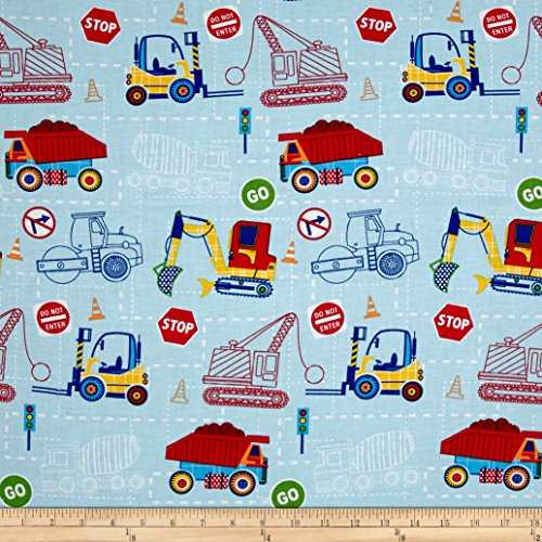 Santee Print Works Kid's Choice Construction Blue Fabric by The Yard,