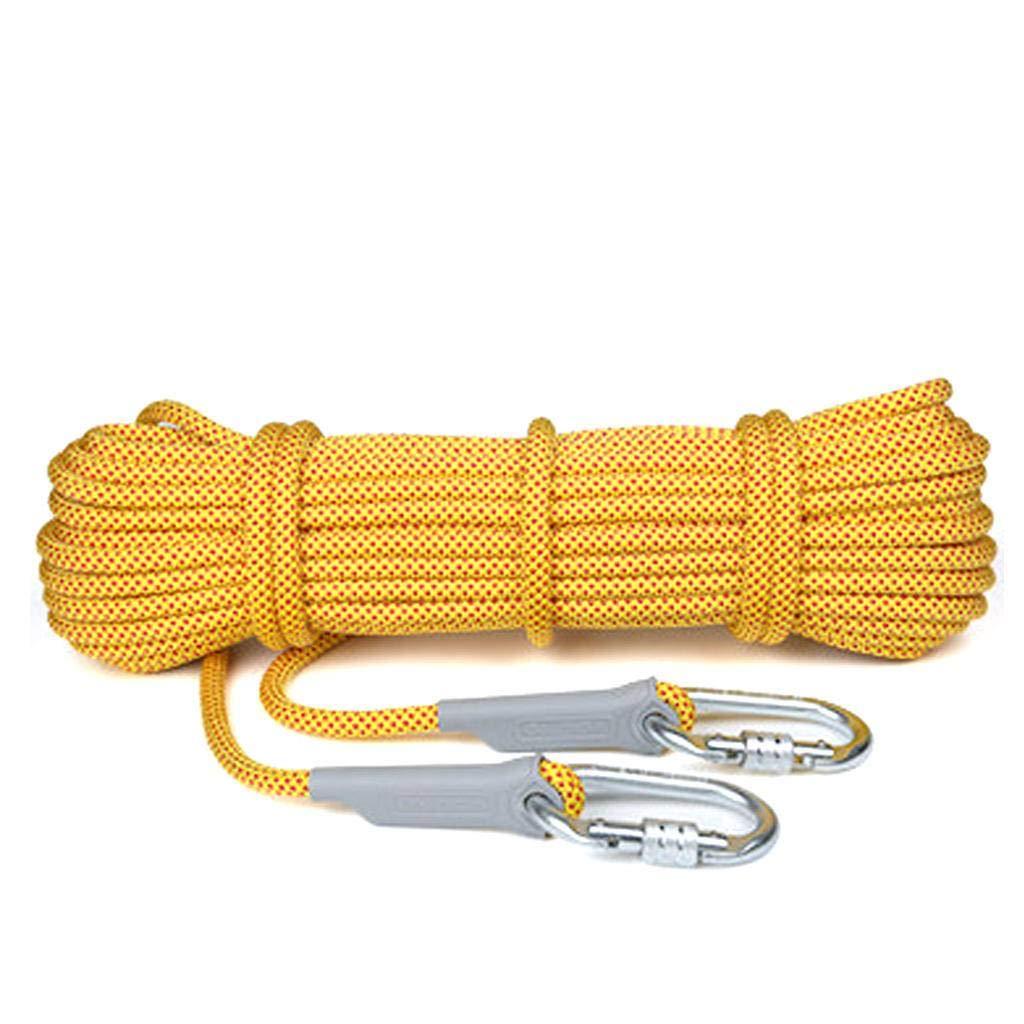 Jaune14mm AMENZ Extérieur Escalade Corde, Alpinisme Sauvetage Corde Corde de sécurité, Corde Auxiliaire pour Escalade Descente en Rappel 30m