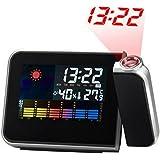 Hangrui Réveil numérique avec projection de l'heure, rétroéclairage LCD, affichage de la température intérieure, fonction Snooze, ports de charge USB, Noir/blanc Projection clock Noir
