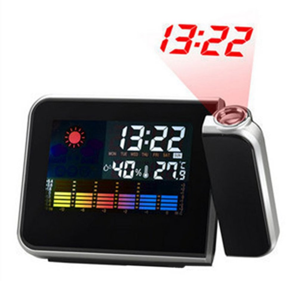 Projection Alarm Clock, Hang Rui Digital LED Weather Clock with Indoor and Outdoor Temperature Display
