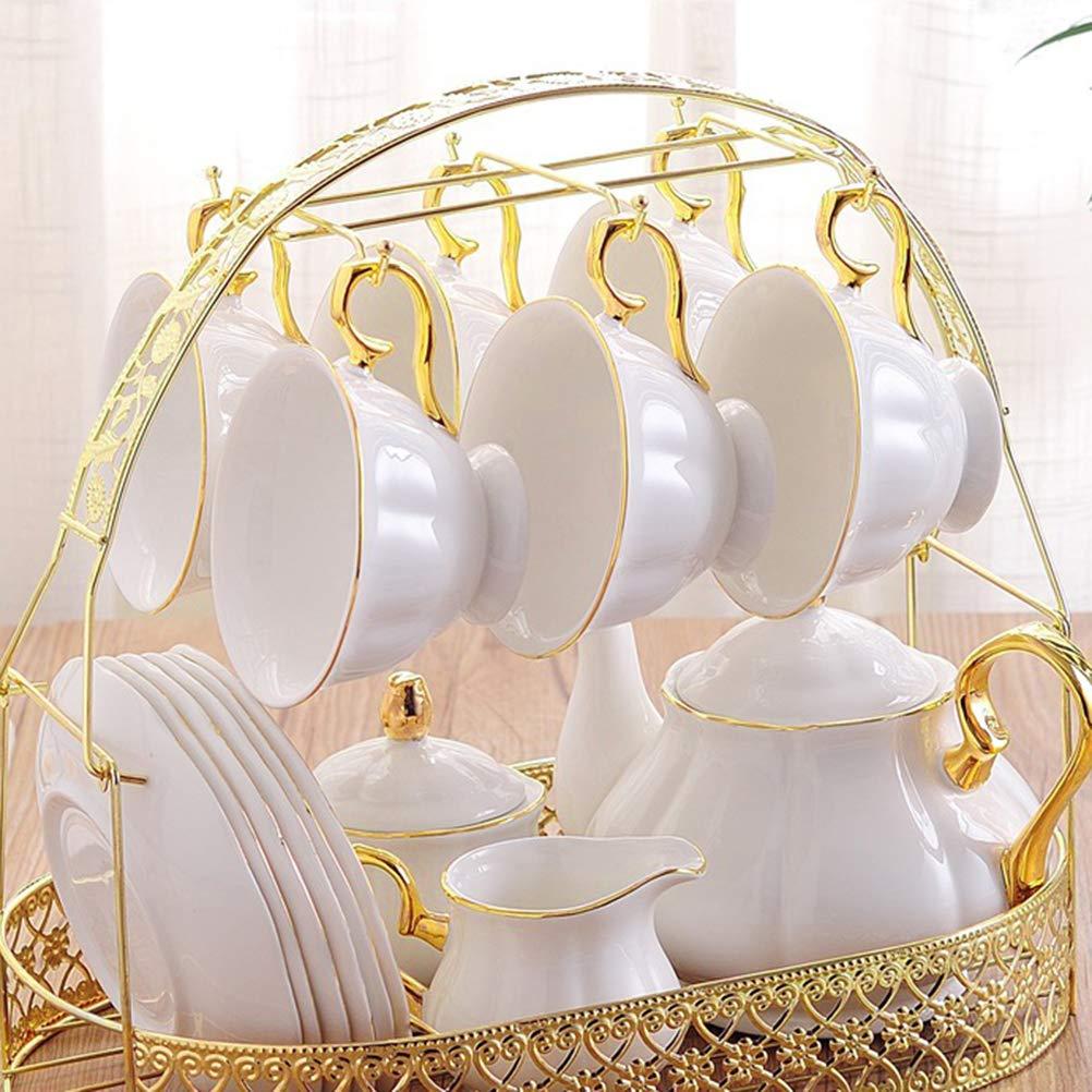 BESTONZON Soporte para tazas Estante para caf/é Estante para caf/é de estilo europeo Organizador para tazas Organizador para taza Escurridor Almacenamiento Rack de secado hierro//dorado