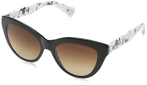 Christian Lacroix – Gafas de sol Ojos de gato CL5049 001 para mujer, Black/Multi/ Grey Lens