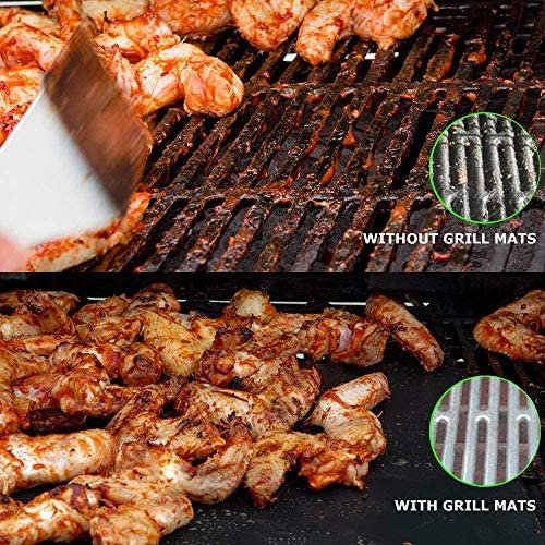 FIF BBQ Grill Mat Set of 5, Anti-Stick Reusable Barbecue Grill & Bake Mats for Oven, Charcoal, Electric Grill, Resistant Up to 500F (260 ° C)