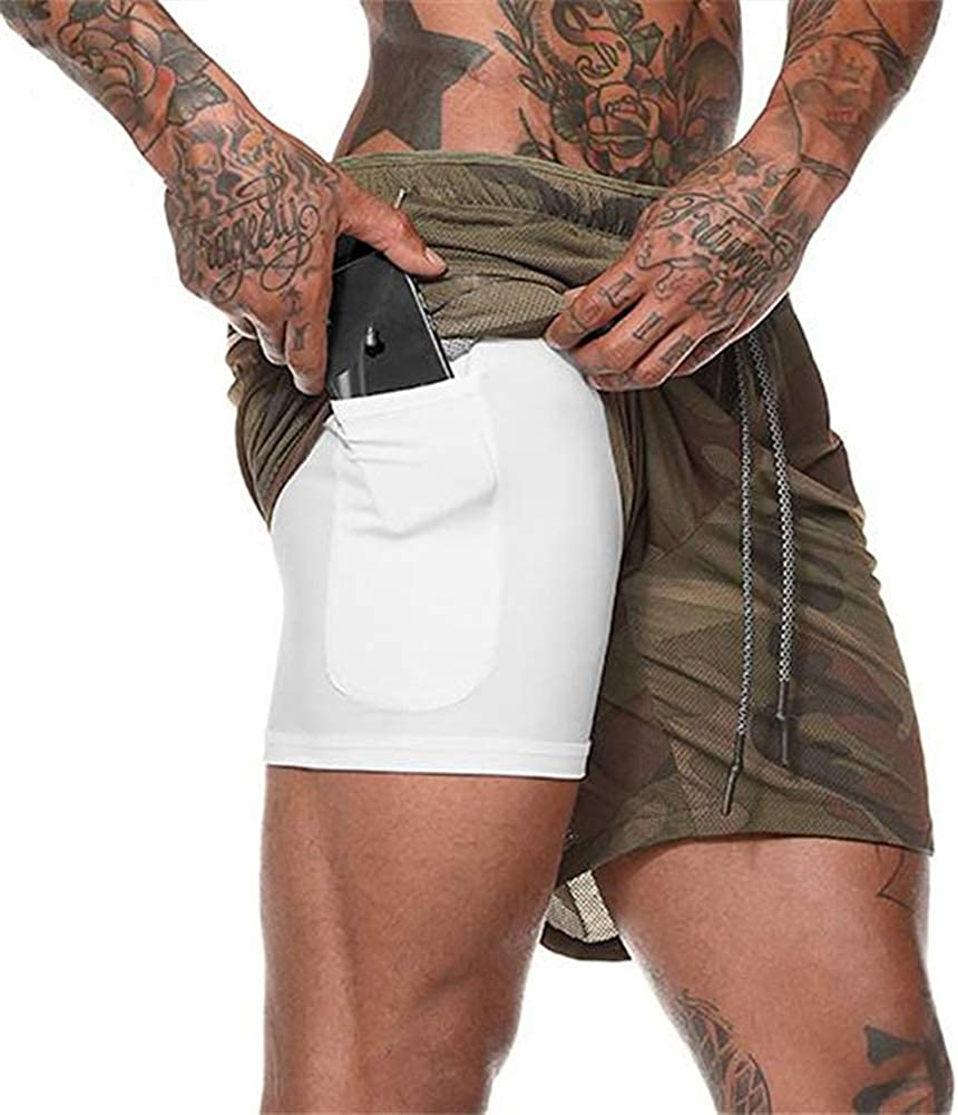 Men/'s Compression 2-in-1 Gym Training Shorts with Towel Loop /& Pockets Quick Dry