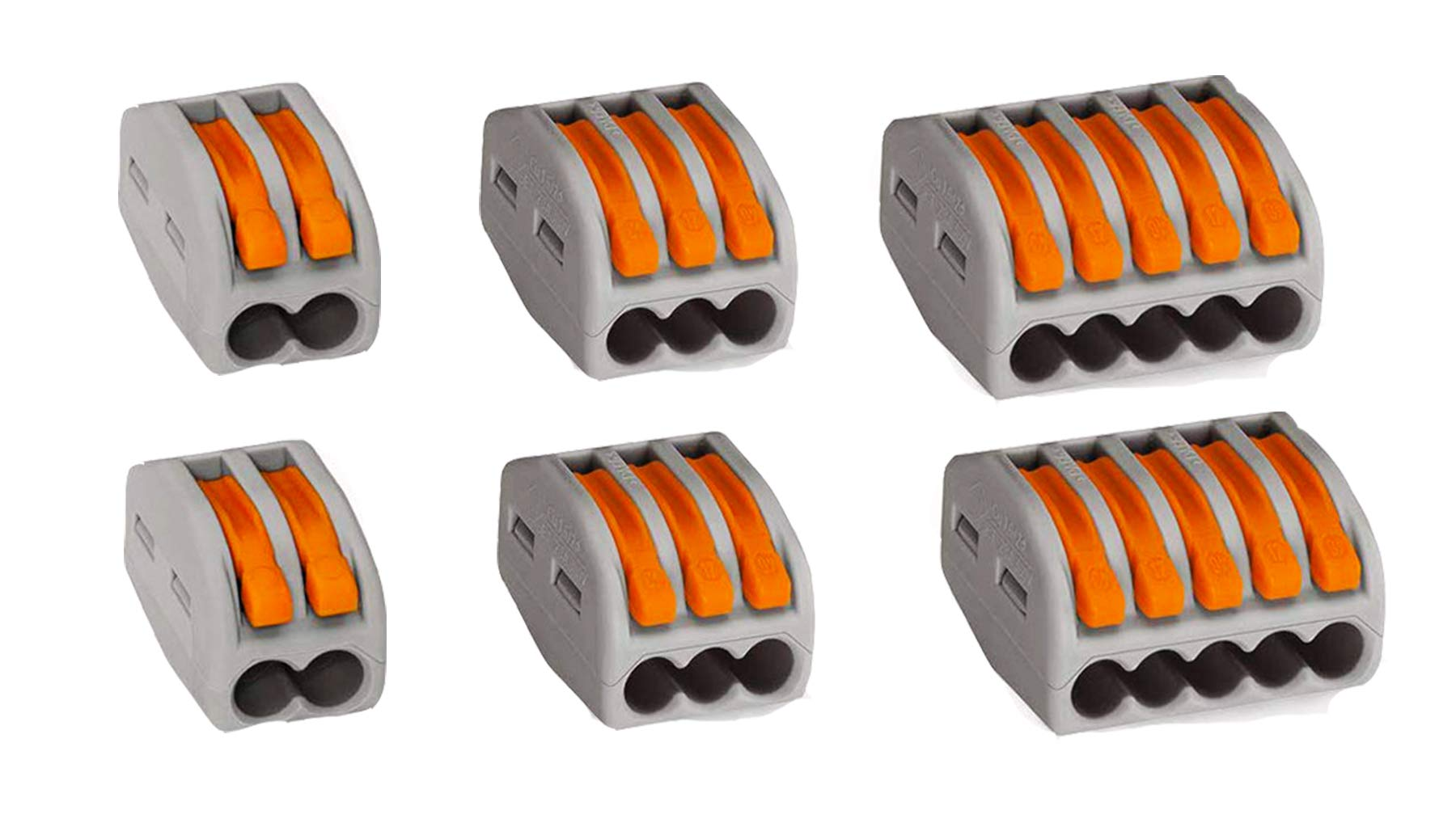 Lever Nuts, Wisonique 60 Pcs Assortment Pack Conductor Compact Wire Connectors, Terminal Block Wire Push Cable Connector PCT-212(20 Pcs) PCT-213(20Pcs) PCT-215(20 Pcs)
