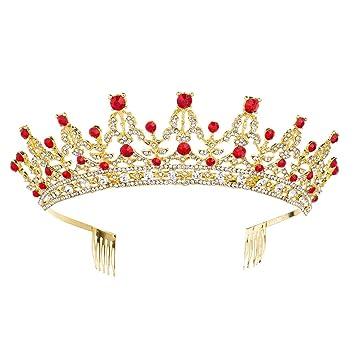 Amazon.com: Tiara de cristal para cumpleaños, corona con ...