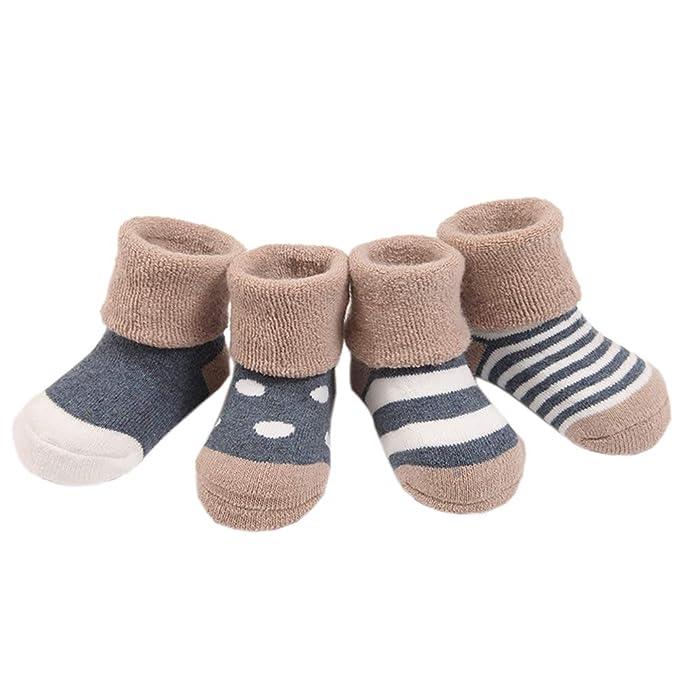 Yuccer Calcetines Antideslizantes para Niños Niñas Calcetines De Algodón Cómodo Calcetines para Bebé Kids Socks Invierno