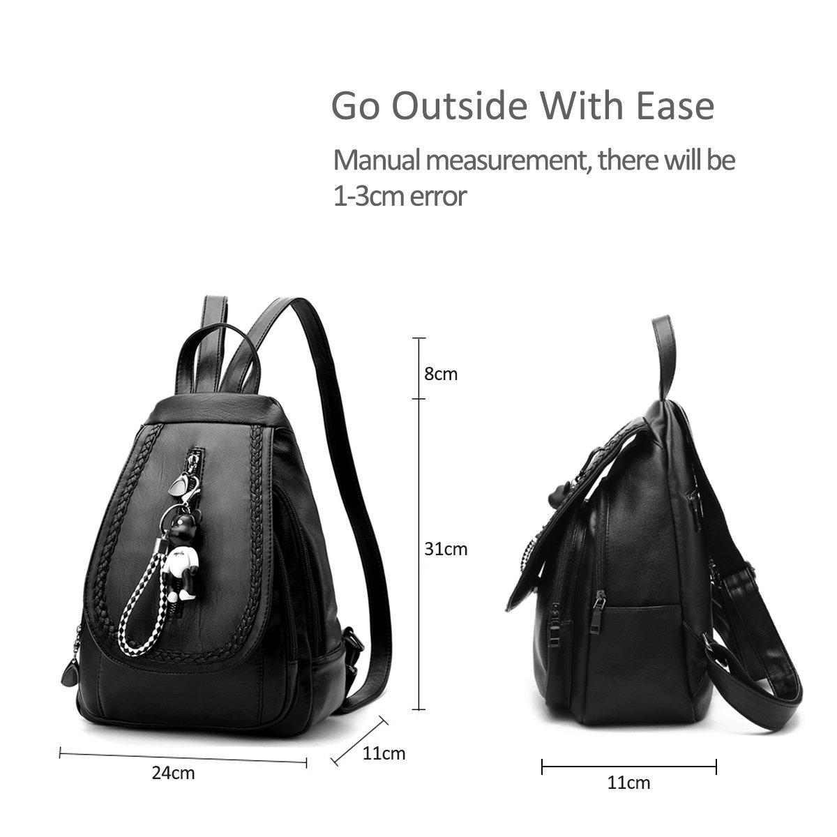Amazon.com   NICOLE&DORIS Classic Fashion Schoolbag Travel Backpack Women Shoulder Bag Daypack Satchel Girls PU Leather Black   Backpacks