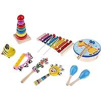 Baoblaze Set Instrumento Musical Juguete Educativo de Madera para Niños Bebé - Cantidad: 9 piezas