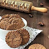 Christmas Wooden Rolling Pin, Engraved Embossing Rolling Pin with Christmas Tree Deer Pattern for Baking Embossed Cookies