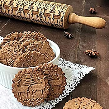 LeKing Christmas Embossing Rolling Pin Wooden Engraved Carved Embossed Rolling Pin Kitchen Tool Cookies Embossing Patterned Roller