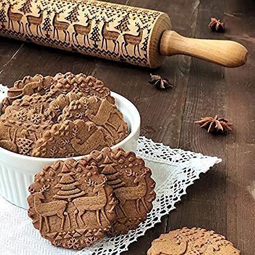 Christmas Wooden Rolling Pin, Engraved Embossing Rolling Pinwith Christmas Tree Deer Pattern for Baking Embossed Cookies