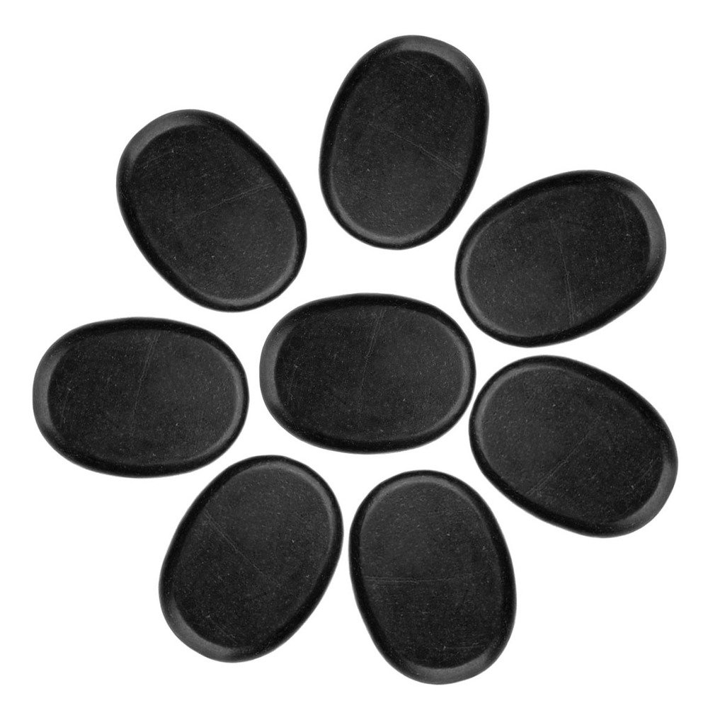QGEM 8 PCS Professional Massage Stones Set Basalt Hot SPA Lava Rocks Stones,Size-1.181.57''