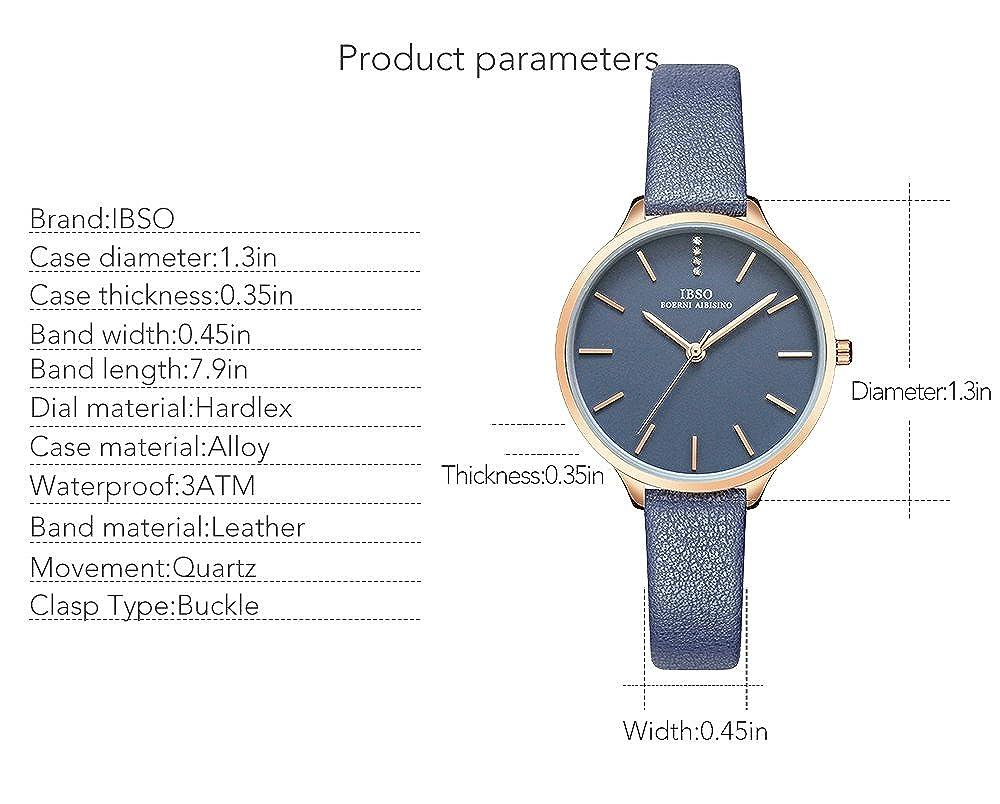 Amazon.com: IBSO Women Fashion Simple Watch Ultra-Thin Retro Quartz Analog Leather Strap Ladies Wristwatch (6603 Blue): Watches