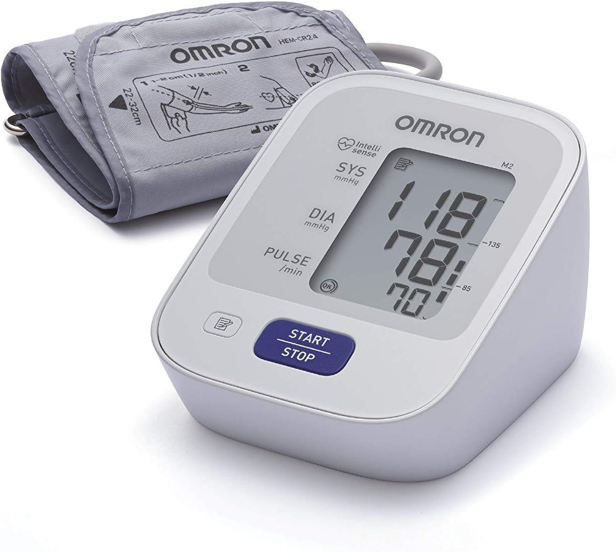 OMRON M2 - Tensiómetro de brazo, detección del pulso arrítmico, tecnología Intellisense para dar lecturas de presión arterial rápidas, cómodas y precisas